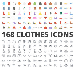 Clothes flat line icon vector pack