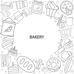 Bakery background from line icon. Linear vector pattern