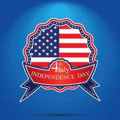 4th of July, American independence day badge . Happy independence day