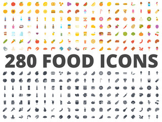 Food flat silhouette icon vector pack