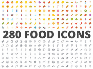 Food flat line icon vector pack