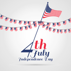 4th of July, independence day . Happy independence day with Bunting Flag