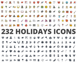 Holidays colored silhouette icon vector pack