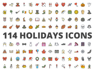 Holidays colored icon vector pack