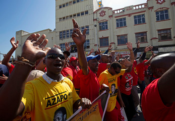 Union members protest the proposed national minimum wage during a march in Durban