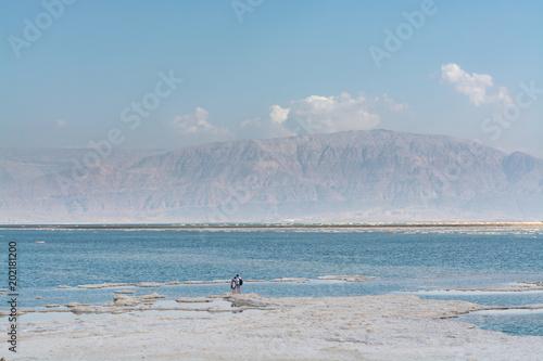 Lowest salty lake in world below sea level Dead sea, full of
