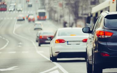 Traffic jam on urban street in city