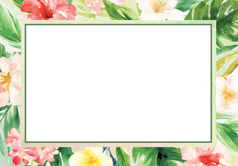 Watercolor ink brush background with summer plant and flower border