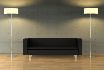 3D rendering of an empty wall on a modern apartment with modern furniture (self designed)