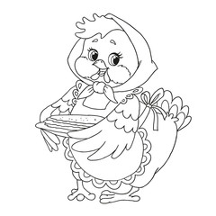 Cute cartoon character chicken. Grandmother with pancakes. Vector isolated on white background. Coloring book page. Hand drawing.