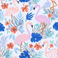 Flamingo Bird and Tropical Flowers Background. Seamless pattern vector