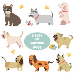 Big set of cartoon dogs of different breeds