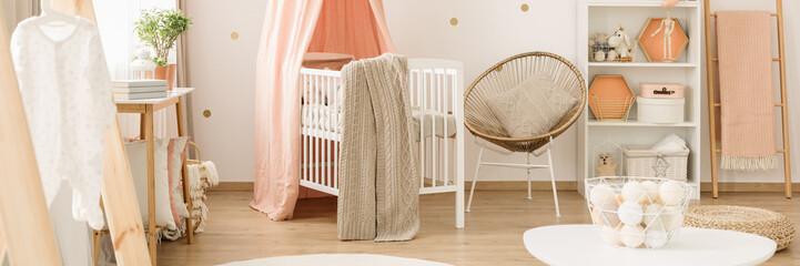 Pink baby's bedroom interior