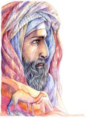 Watercolor portrait Bedouin, Arab with a beard