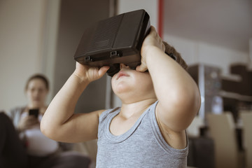 Little Boy Using VR Headset