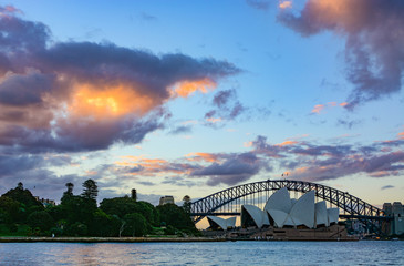 Incredible sunset and light infused clouds over the Sydney Harbour Bridge
