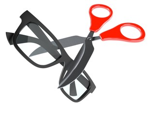 Glasses with scissors