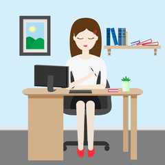 Woman at work character in cartoon style. The office worker sits at the desk. Working space.