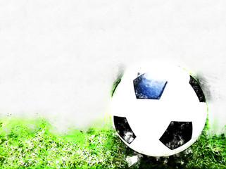 Abstract Football ball on watercolor painting background.