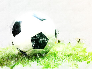 Abstract Football ball on green grass watercolor painting background.