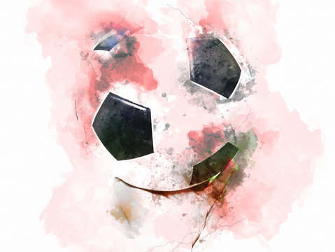 Abstract soccer ball or football ball on watercolor painting background.