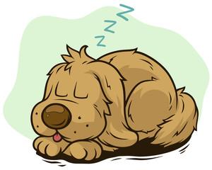 Cartoon cute sleeping dog showing tongue