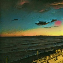 Sunset at the sea and pier. Big size oil painting pictorial art. Modern impressionism drawing artwork. Creative artistic print for canvas or textile. Wallpaper, poster or postcard design.
