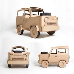 Three views of cardboard jeep