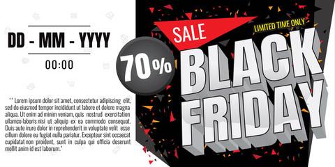 Black Friday sale banner. Vector illustration on white background. discount 70%