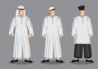 Muslim Man Cartoon Character Vector Illustration