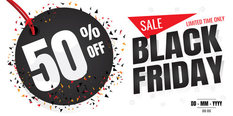Black Friday sale banner. Vector illustration on white background. discount 50%