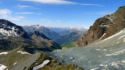 View from mountain summit. The mountain is the highest in the alps and the European Union