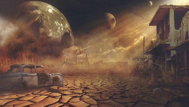 Ruins of a city. Apocalyptic landscape illustration concept