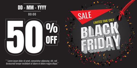 Black Friday sale banner. Vector illustration on white background. discount 50%