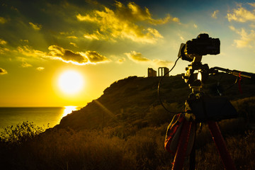 Camera and greek temple of Poseidon, Cape Sounio