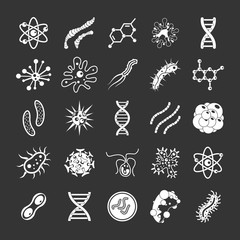 Virus icon set vector white isolated on grey background