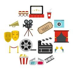 Flat cinema icons set. Universal cinema icons to use for web and mobile UI, set of basic cinema elements isolated vector illustration
