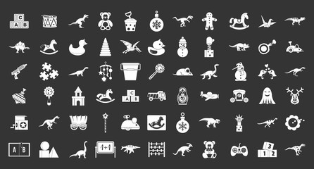 Toys icon set vector white isolated on grey background