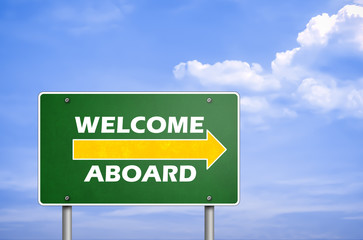 welcome aboard - road sign greetings