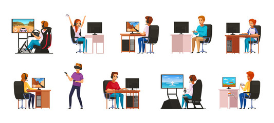 Cybersport Cartoon Characters Set