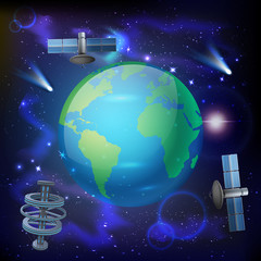 Artificial Satellites Earth Composition