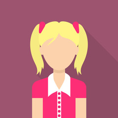 Girl icon. Flat illustration of girl vector icon for web