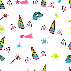 Seamless pattern with unicorns, rainbows, stars and comets.