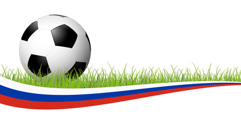 soccer ball with russian banner