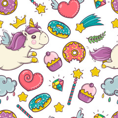 Unicorn sweet and donut set of stickers, pins, patches in cartoon comic style. seamless pattern