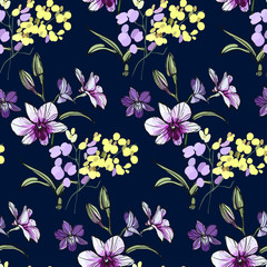 Floral seamless pattern with different flowers and leaves. Botanical illustration  hand painted. Textile print, fabric swatch, wrapping paper.