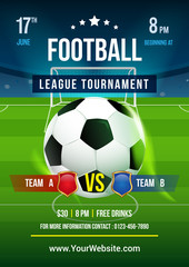 Football league tournament poster vector illustration, Ball in soccer pitch background.