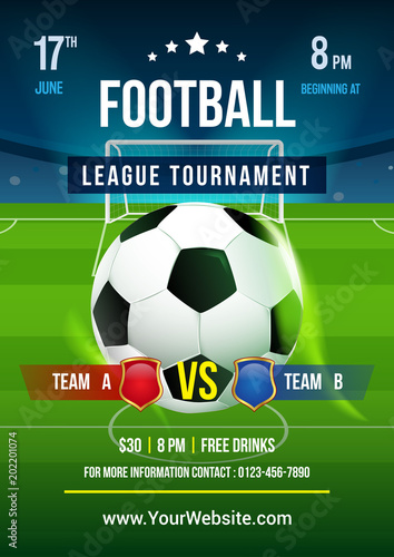 Football League Tournament Poster Vector Illustration Ball In Soccer Pitch Background