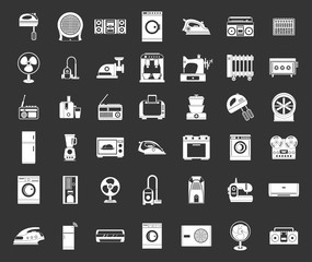 Appliances icon set vector white isolated on grey background