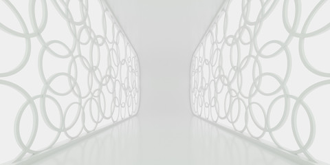 Abstract of white architectural space with circle decorate window,3d rendering